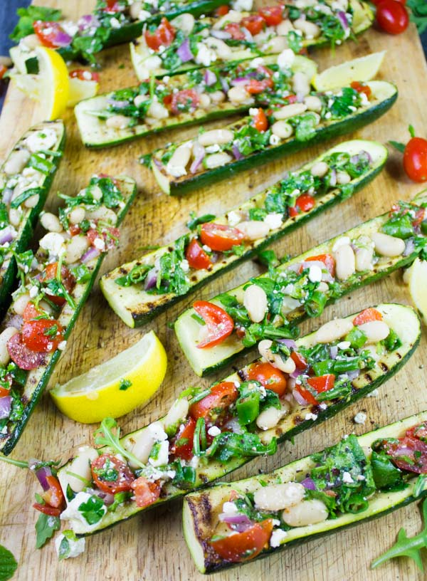 ZUCCHINI BOATS GRILLED & LOADED WITH WHITE BEAN SALAD