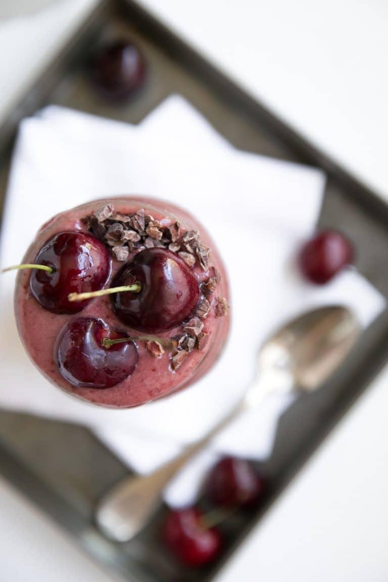 close up of three Cherries in Overnight Oats with Cherry Banana Nice Cream