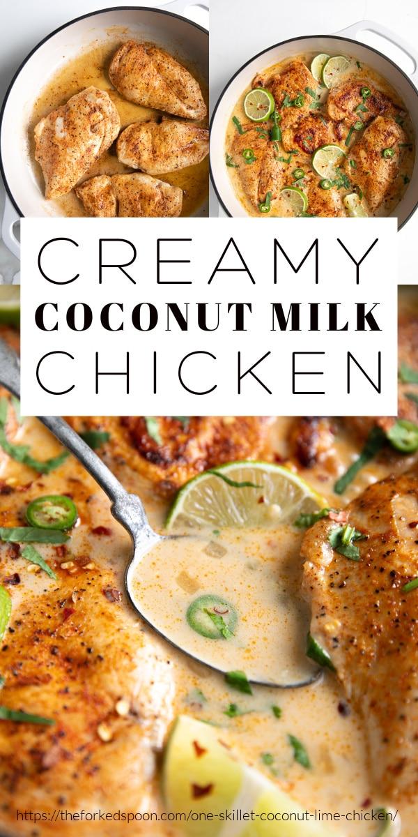 Creamy Coconut Milk Chicken Recipe (One-Skillet) pinterest pin collage image