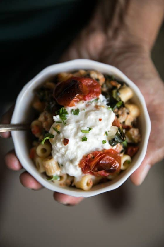 Creamy Sausage Pasta with Kale and Burrata