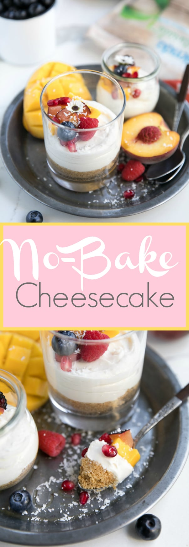 Easy No-Bake Summer Cheesecake via @theforkedspoon #cheesecake #dessert #nobake #lessaddedsugar #splenda #sponsored #fruit #theforkedspoon