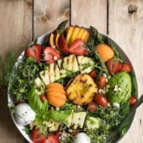 Grilled Peach, Corn, Zucchini and Asparagus Summer Salad with Strawberry Vinaigrette