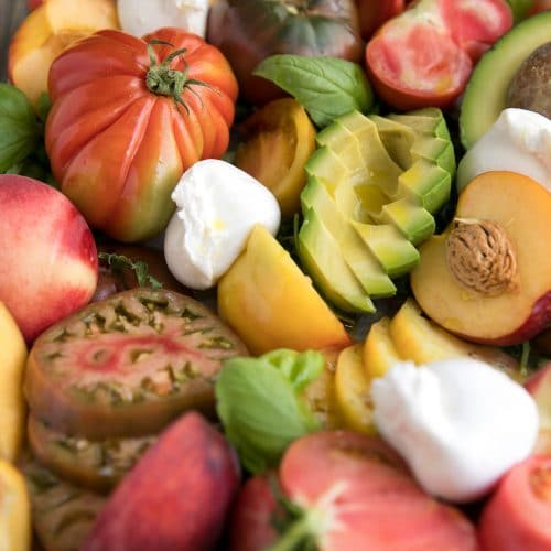 Stone Fruit and Burrata Salad with Avocado