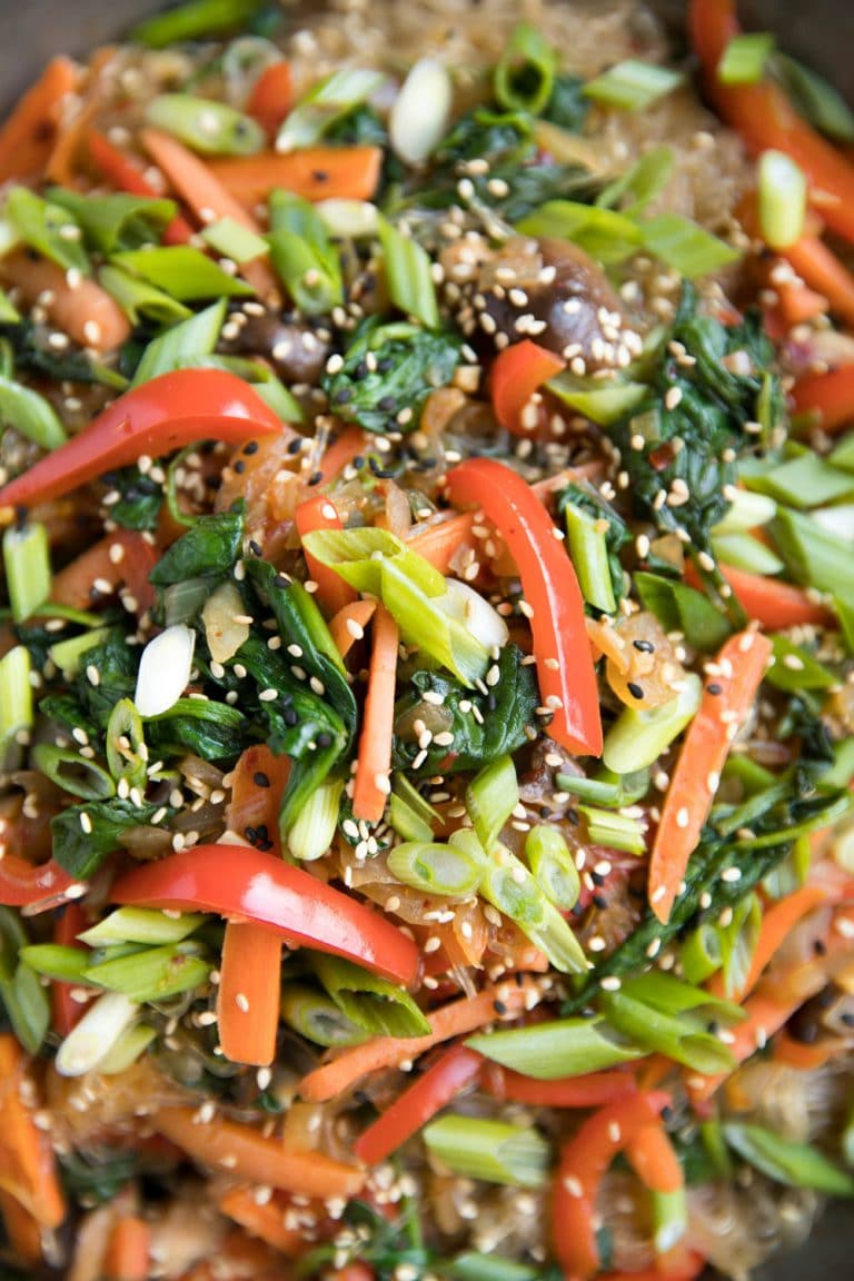 close up of Korean Glass Noodle Stir-Fry
