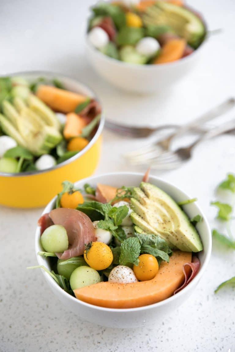 melon and mozzarella salad with prosciutto diagonal image