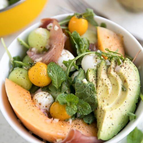 Melon & Mozzarella Salad with Prosciutto