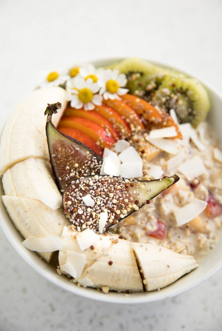 close up of Peach Overnight Oats bowl with figs and banana