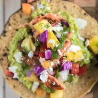 Salmon Tostadas with Pineapple Mango Salsa