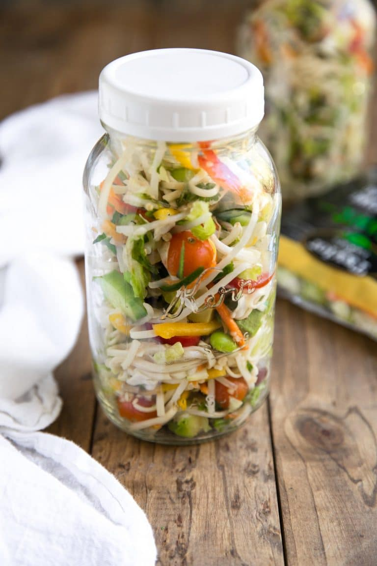 10 Minute Toasted Sesame Chopped Noodle Salad left overs in sealed mason jar