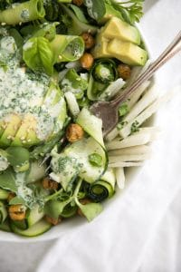 Zucchini and Avocado Salad with Garlic Herb Dressing