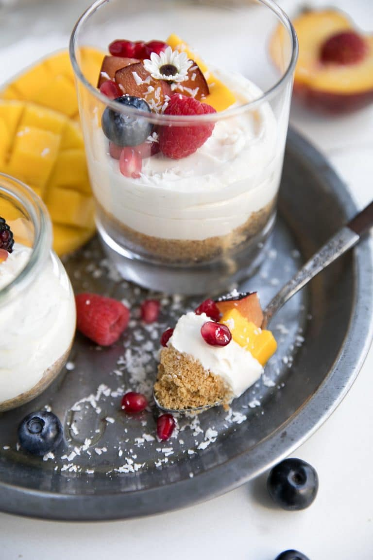 Surprise your guests at your next summer party with these super easy no-bake summer cheesecake cups. Sweetened with SPLENDA® Naturals Sugar & Stevia Sweetener Blend, these summery no-bake dessert cups taste just as delicious as traditional cheesecake- minus the guilt.