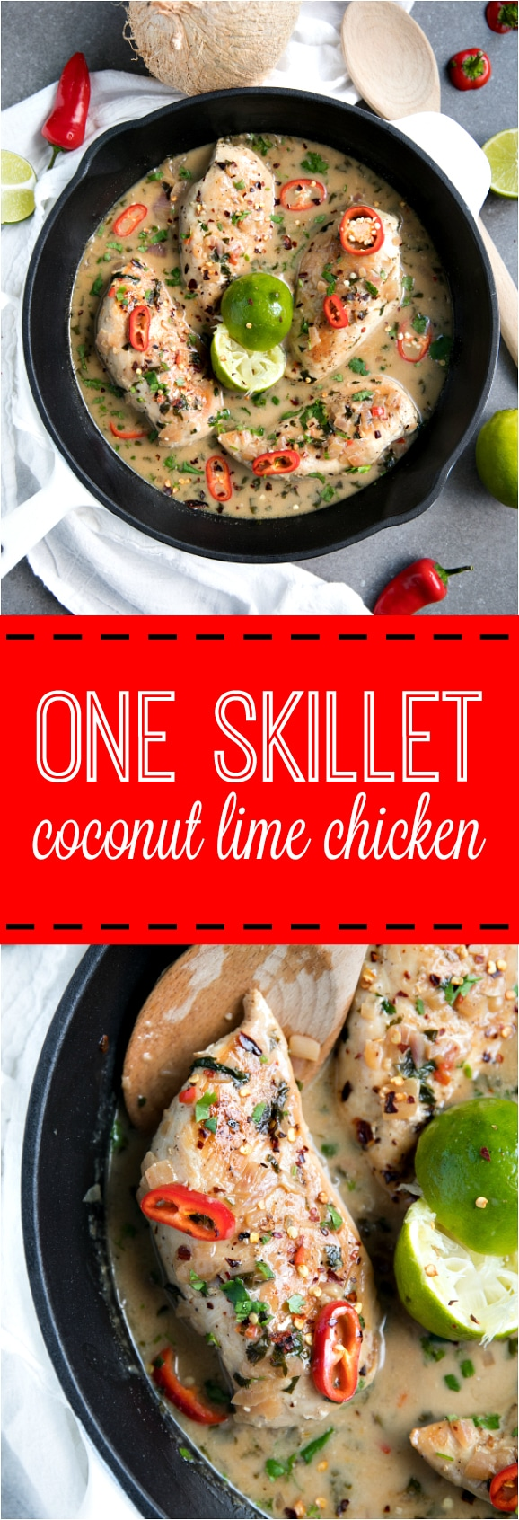 One Skillet Coconut Lime Chicken via @theforkedspoon
