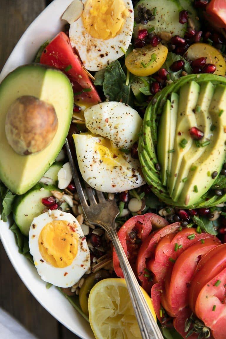 close up of eggs in Rocket and Beluga Lentil Breakfast Salad