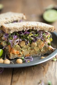 Smashed Avocado and Chickpea Sandwich with Peppery Radish Sprouts Prep Time: 5 minutes | Cook Time: 0 minutes Total Time: 5 minutes Yield: Category: Sandwich/Wrap, Vegetarian, Lunch, Healthy Ingredients 1 ripe avocado 1-2 tablespoons plain Greek yogurt 1/2 cup cooked chickpeas 1 carrot, shredded salt + pepper, to taste 1/4 teaspoon chili flakes (optional) Juice from 1/2 lemon Radish sprouts 2 slices of whole grain bread, or bread of choice Instructions In a medium bowl mash avocado with yogurt until it reaches desired consistency (I prefer mine a little chunkier). Add the cooked chickpeas, shredded carrot (I used a cheese grater to shred mine), salt and pepper, chili flakes and lemon juice. Season to taste. Transfer to one slice of whole grain bread and top with desired amount of radish sprouts (or other sprout of choice) and the other slice of bread. Cut in half and serve.