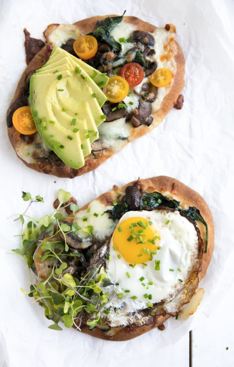 overhead photo of Breakfast Naan Pizza with Sauteéd Mushrooms and Shallots