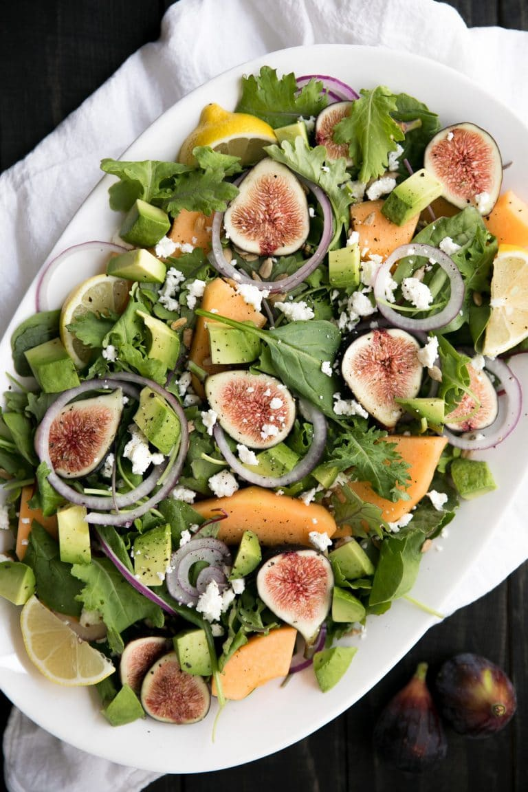 overhead image of plated Fig and Melon Salad