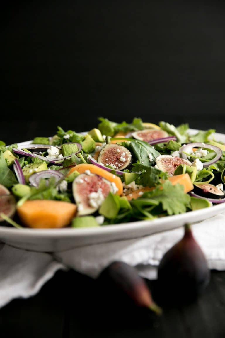 horizontal image of plated fig salad