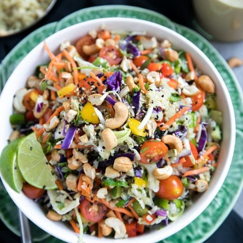 Thai Cashew Coconut Cauliflower Rice Chopped Salad with Ginger Peanut Dressing