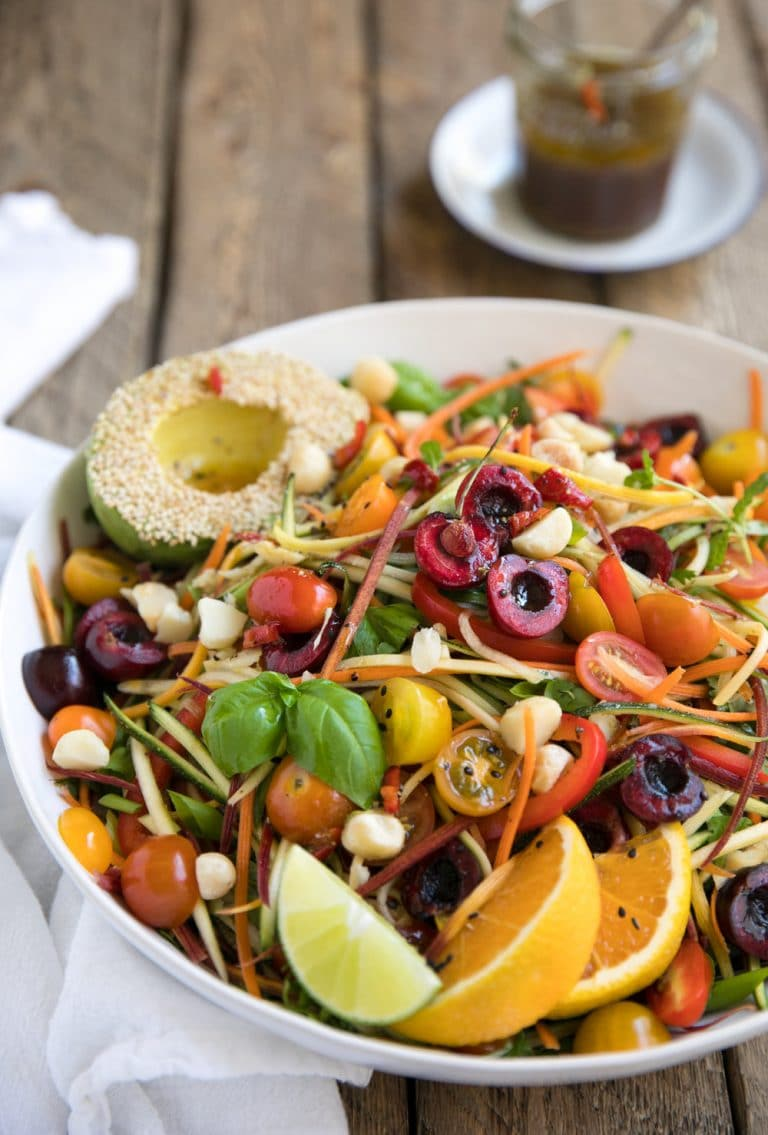 close up image of Zesty Veggie Noodle Salad