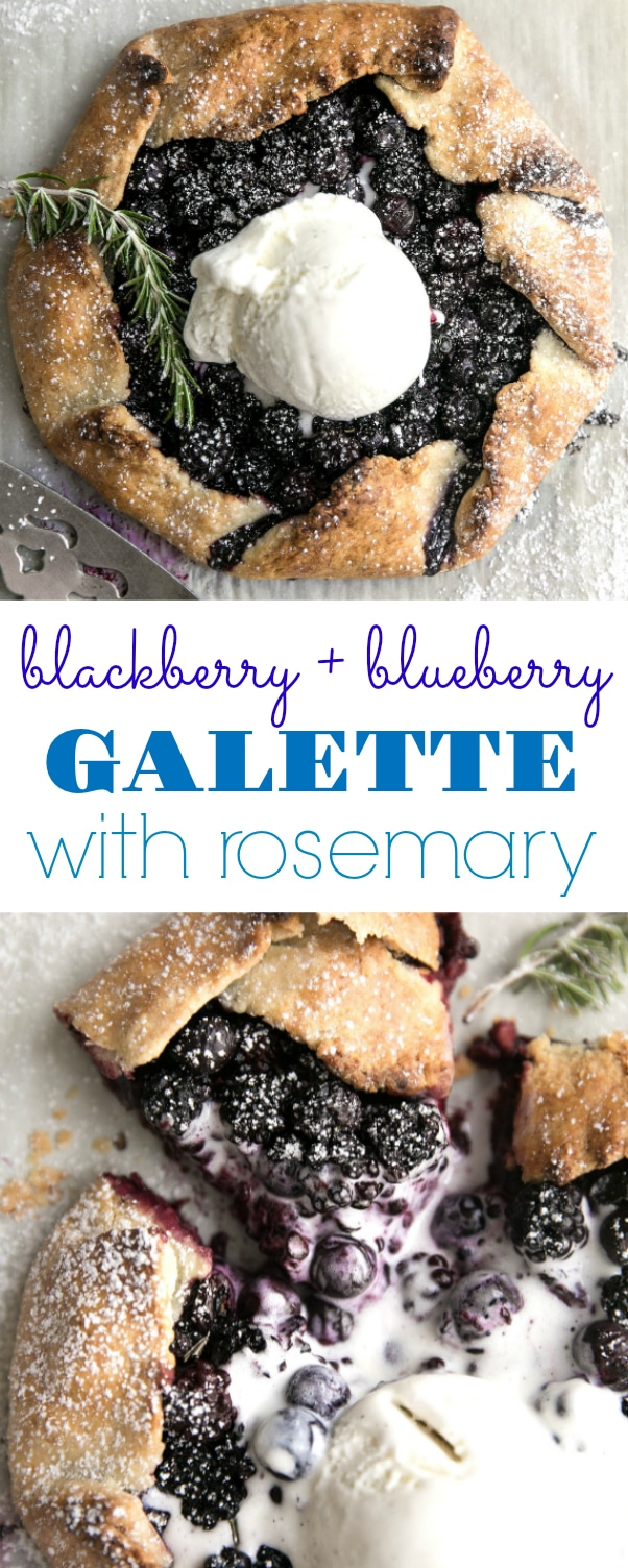 Rustic Blackberry and Blueberry Galette with Rosemary via @theforkedspoon #galette #dessert #pie #blueberries #easydessert #freshberries #blackberries #icecream #recipe #easyrecipe | For this recipe and more visit, https://theforkedspoon.com/