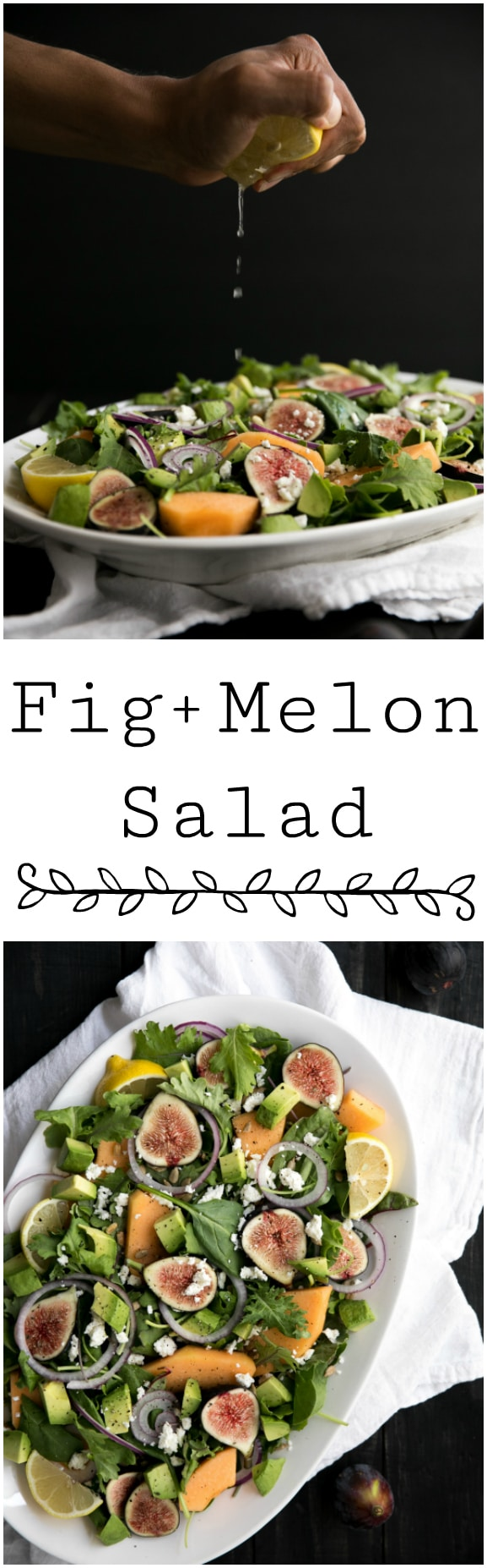 Fig and Melon Salad.  Fresh, summery and as farm to fork as any salad could possibly get, this Fig and Melon Salad is the perfect lunch and dinnertime solution.  #theforkedspoon #healthy #salad #summerrecipies #healthyrecipes #figs