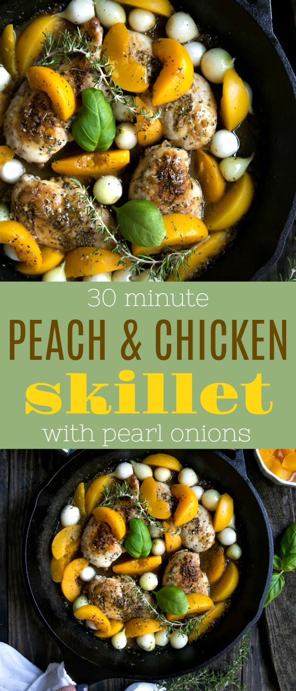 30 Minute Peach and Chicken Skillet with Pearl Onions via @theforkedspoon #chicken #skillet #peaches #30minutemeals #healthy #easyrecipe #theforkedspoon | For this and more recipes visit, https://theforkedspoon.com/
