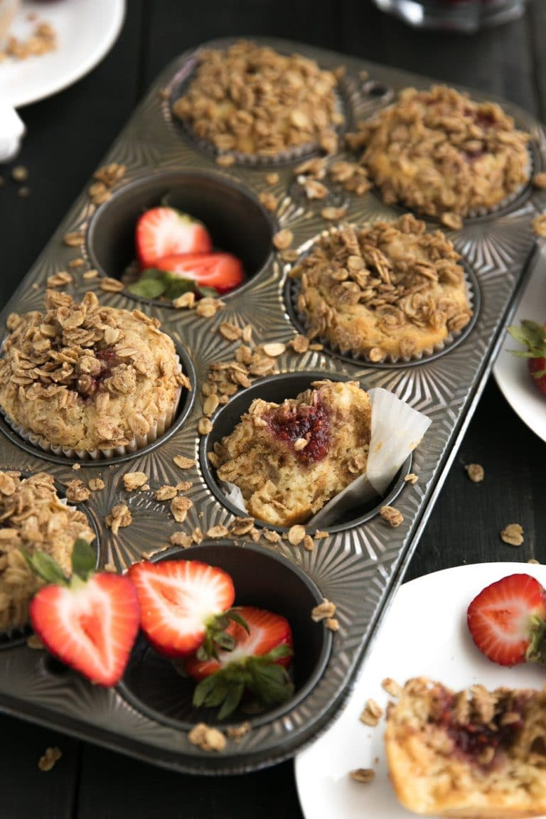 Almond Butter and Jam Muffins with Streusel Topping