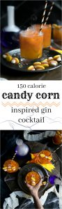 halloween cocktail drink with candy corn colors