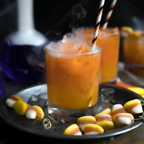 Candy Corn Inspired Carrot and Orange Juice Gin Cocktail (150 Calories)