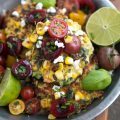 corn and goat cheese fritters with cherry and tomato salsa