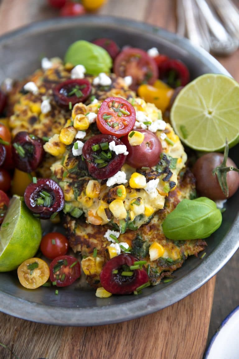 Corn and Goat Cheese Fritters with Cherry Tomato Salsa close up image