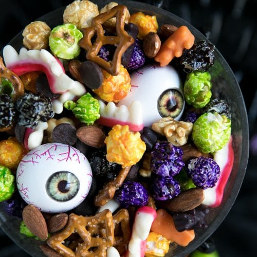 A bunch of different types of Halloween food