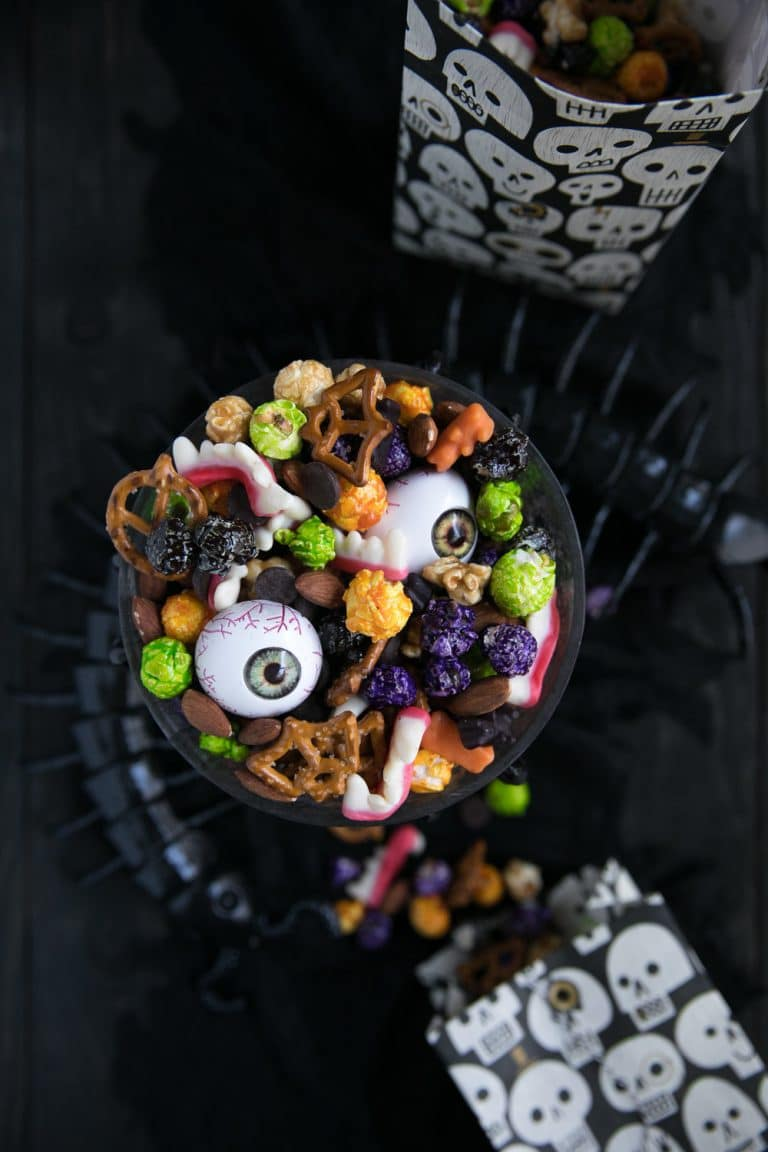 overhead photo of bowl with Halloween Monster Mash Party Mix