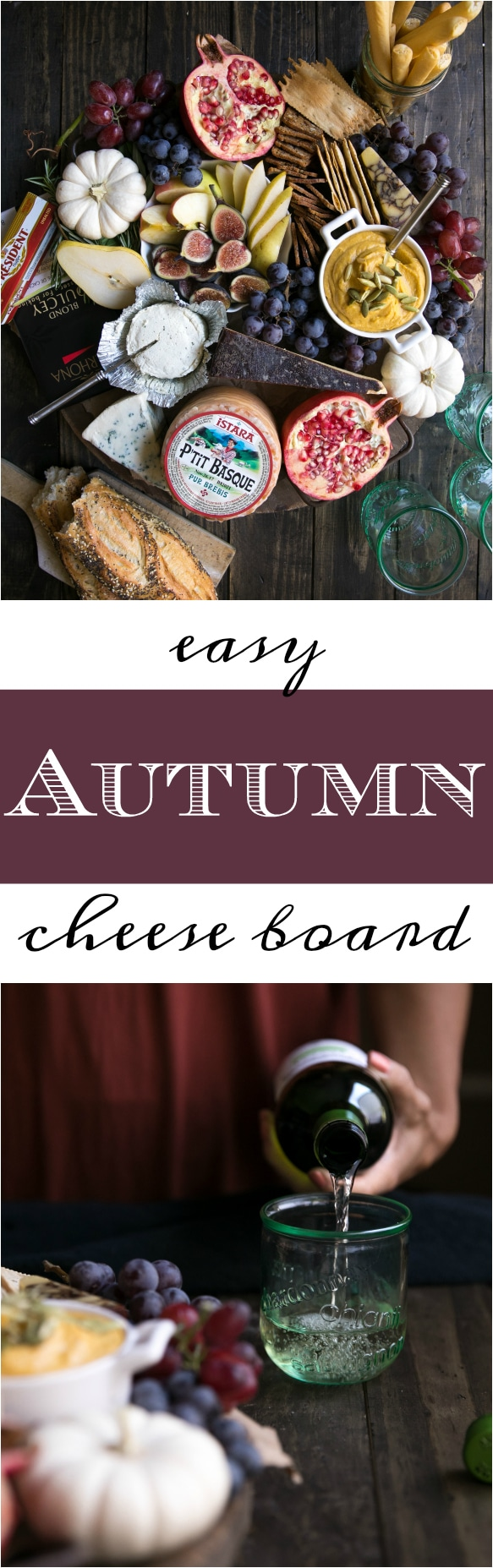 Keep entertaining easy with a beautiful autumn fruit and cheese board. Ready in just minutes, pair a selection of cheeses with few of your favorite wines and get the party started! #cheese #cheeseboard #autumn #wine #entertaining #appetizers @theforkedspoon