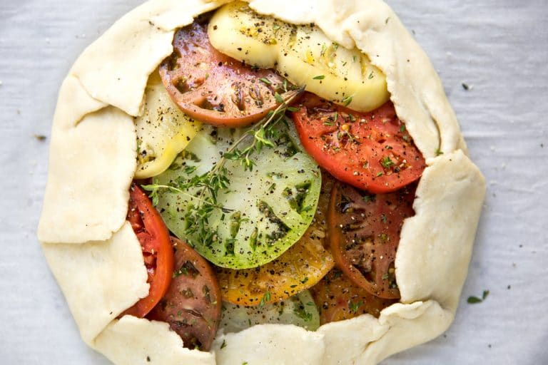 overhead photo of uncooked Heirloom Tomato Galette