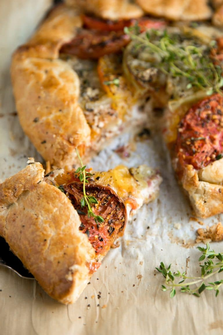 slice of Heirloom Tomato Galette with Honey and Goat Cheese