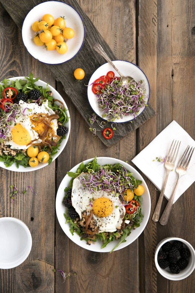 Lentil and Farro Salad with Jalapeños and Fried Egg