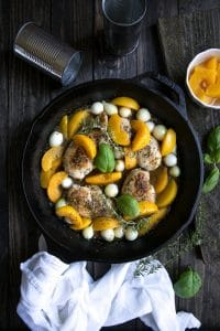 30 Minute Peach and Chicken Skillet with Pearl Onions