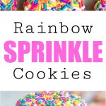 rainbow colored sprinkles cover multiple cookies, with the nearest cookies in focus and the distant cookies out of focus.