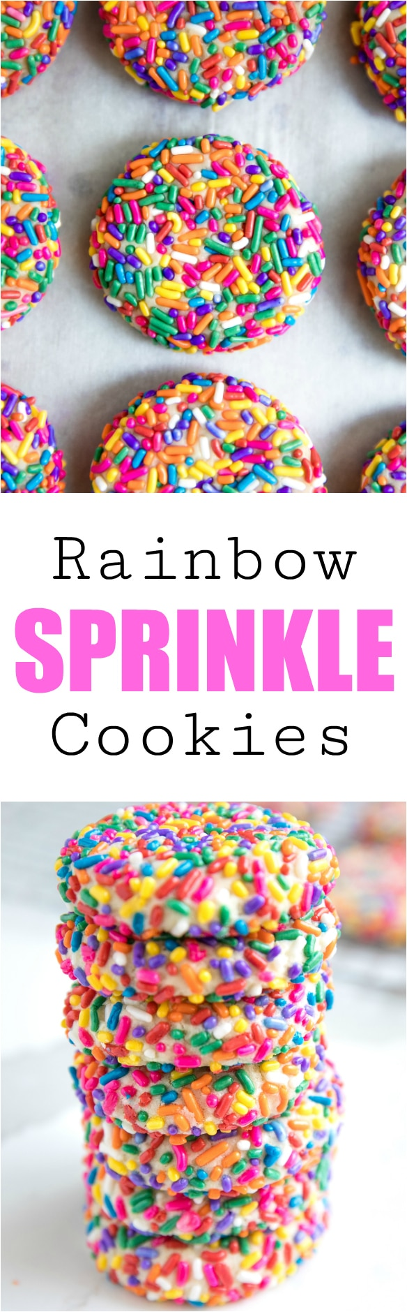 Sprinkle Confetti Cookies.  Life is always a little better with a side of cookies. Especially when those cookies are covered in rainbow sprinkles. Seriously, though, who doesn\'t love a good Sprinkle Confetti Cookie? #cookies #rainbows #sprinkles #dessert #fun