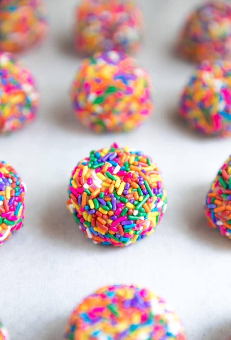 diagonal photo of Rainbow Sprinkle Cookies