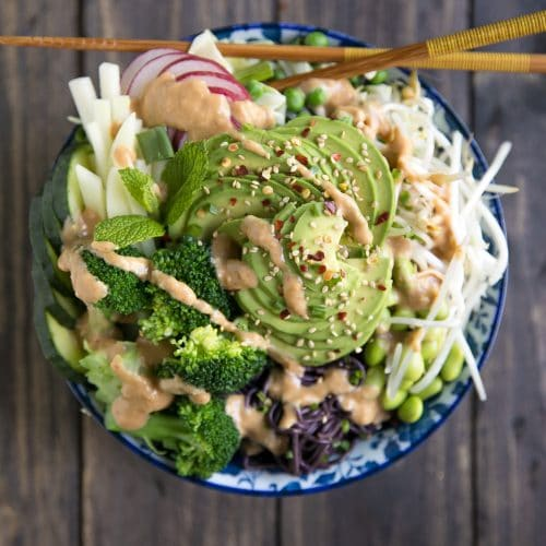 A plate of food with broccoli, with Miso and Ramen