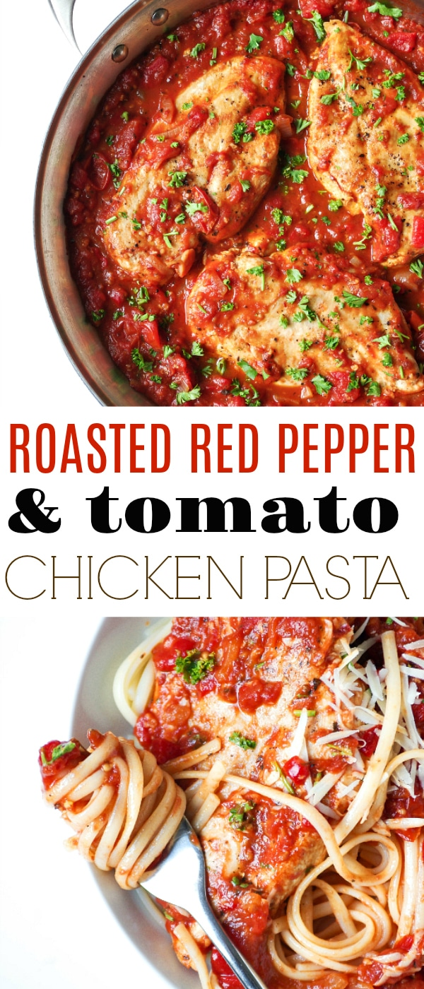 Roasted Red Pepper Tomato Pasta with Chicken via @theforkedspoon #chicken #chickenpasta #pastarecipe #easyrecipe #homemade #sauce #roastedredpepper #chickendinner #healthy | For this recipe and more visit, https://theforkedspoon.com/
