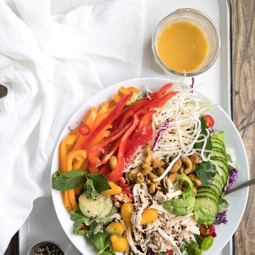 Asian Chopped Chicken Salad with Sesame Vinaigrette