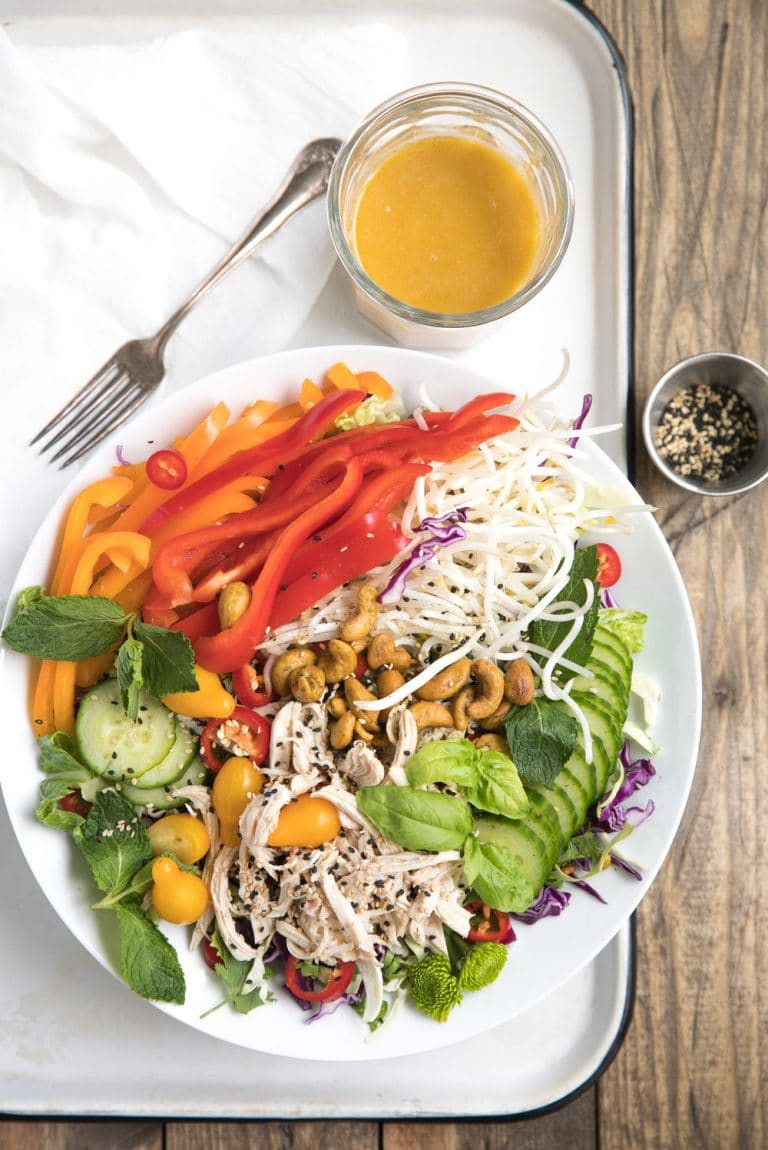 Fresh, healthy and so easy to throw together, this Easy Asian Chopped Chicken Salad with homemade Sesame Ginger Vinaigrette makes a perfect lunch or dinner option.