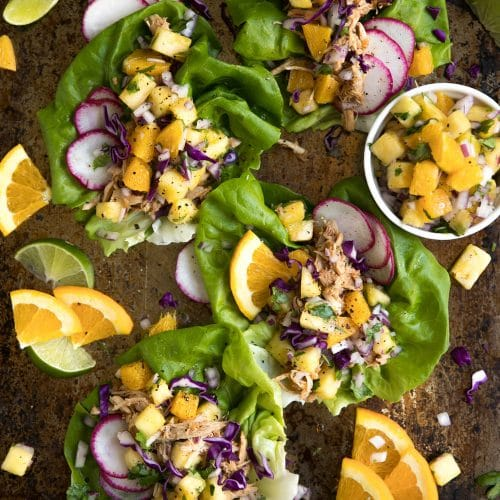 Slow Cooker Pineapple Pulled Chicken Taco Lettuce Wraps