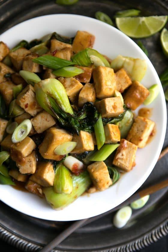 Spicy Stir Fried Tofu with Bok Choy