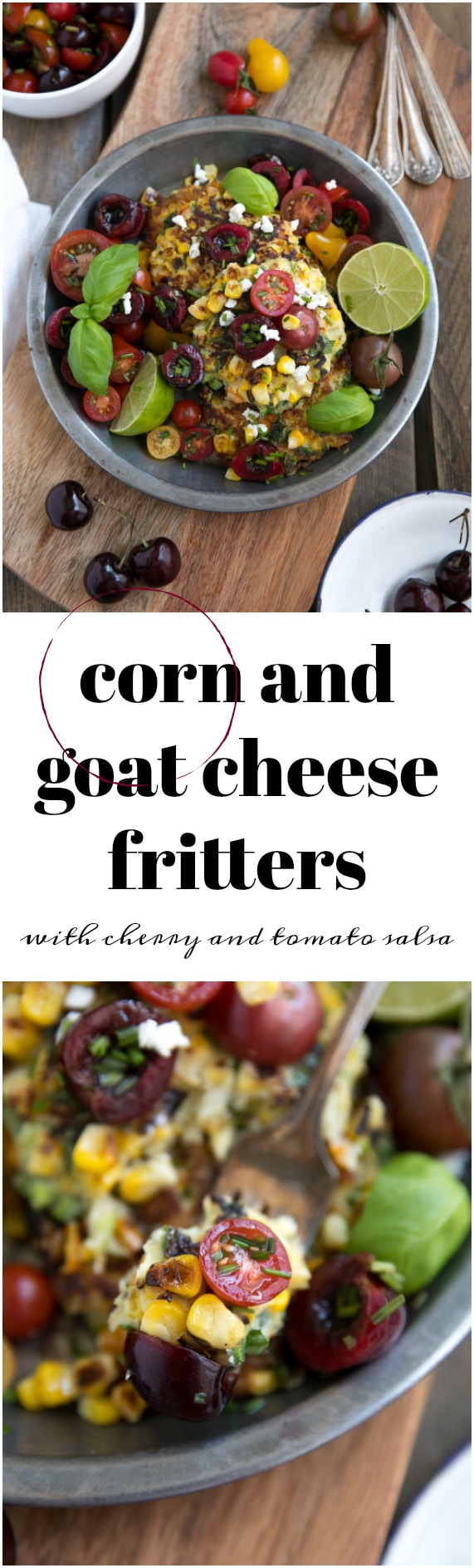 Corn and Goat Cheese Fritters with Cherry and Tomato Salsa via @theforkedspoon #corn #fritters #cherry #snacks #salsa #goatcheese #easyrecipe