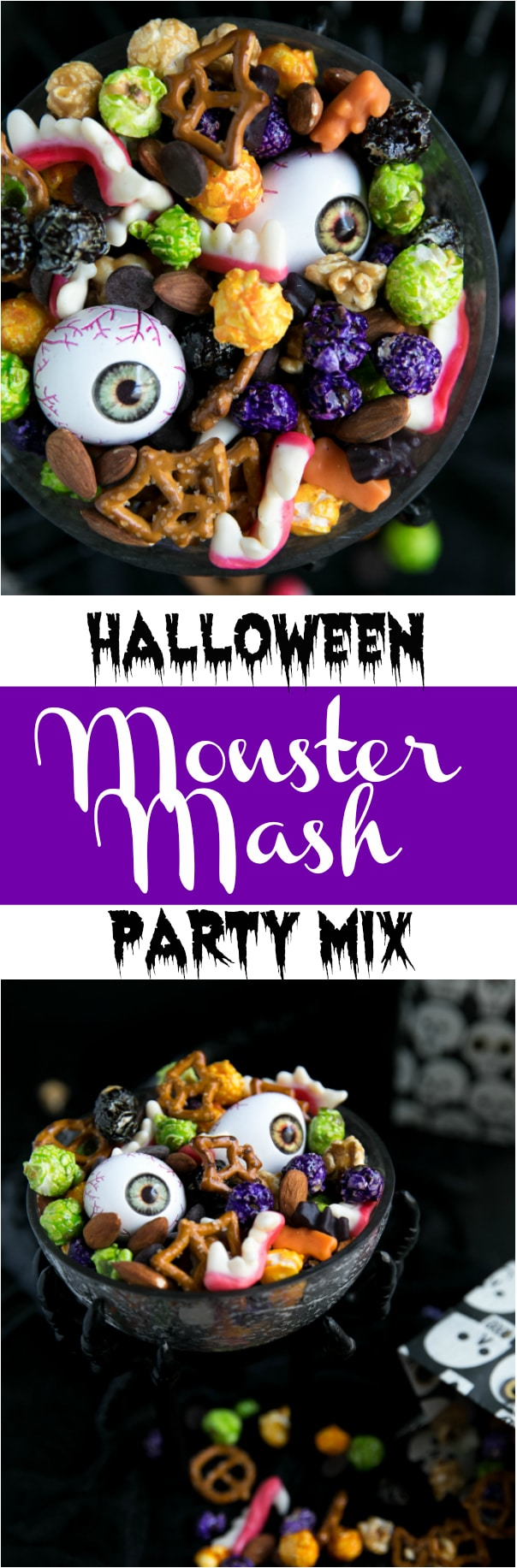 Completely addicting, this Halloween Monster Mash Party Mix has a little something for everyone and takes just 5 minutes to mix together. #halloween #snacks #party #holiday #entertaining