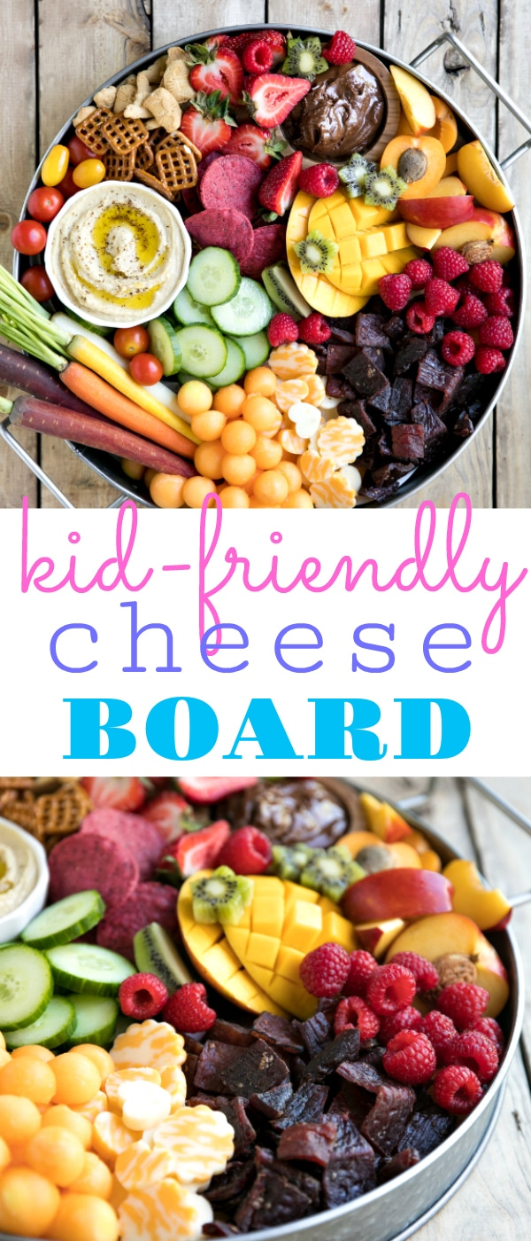 Kid-Friendly Charcuterie Board. Bright, colorful, and jam-packed with delicious snacks both kids and adults will love, this super easy Kid-Friendly Charcuterie Board will be the highlight of any party! via @theforkedspoon #charcuterieboard #kidfriendly #cheese #snacktray #easyrecipe #kidfood #hummus #nutella #jerkey | For this recipe and more visit, https://theforkedspoon.com/